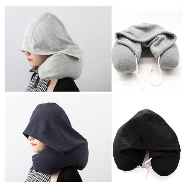 Soft Hooded U-pillow Body Neck Pillow Solid Grey Nap Cotton Particle Pillow Textile Home Airplane Car Travel Accessories