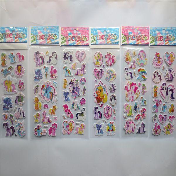 100pcs/lot Cartoon Rainbow Horse Bubble Stickers Classic Toys 3D Fashion Kids School Reward Sticker Decoration Christmas Gift