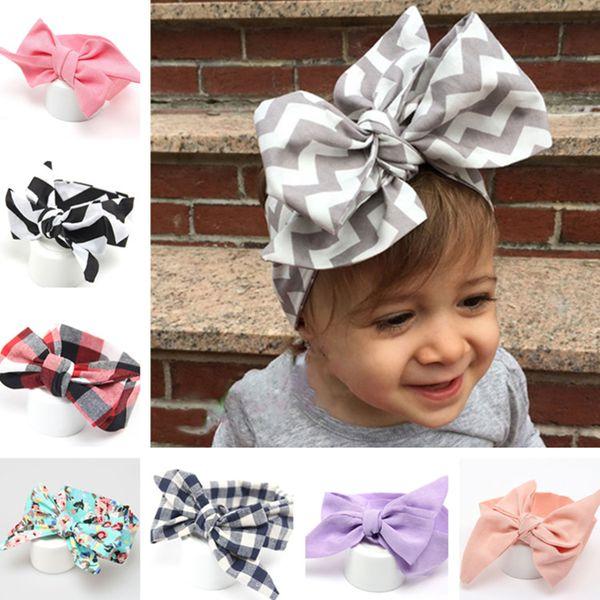 Nuevo estilo multi banda de pelo de los niños niñas arco iris bowknot cinta del pelo regalo de los niños DIY arcos del pelo ondulado comprobar accesorios 200pcs T1G115