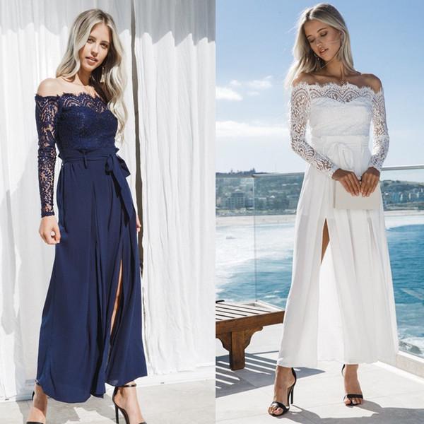 Women Ladies Clubwear Summer Lace Off Shoulder Playsuit Jumpsuit Romper Long Pants Party Trousers Sexy Women Clothes