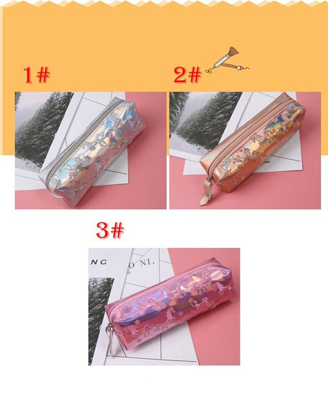 Unicorn pen bag leather wallet purse laser silver bag small women wallet female Mini clutch purse designer female wallet