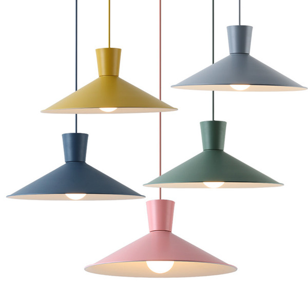 Modern brief LED pendant lights colorful macaron metal hanging lamp pink yellow green gray round kids room foyer bedroom lighting fixture