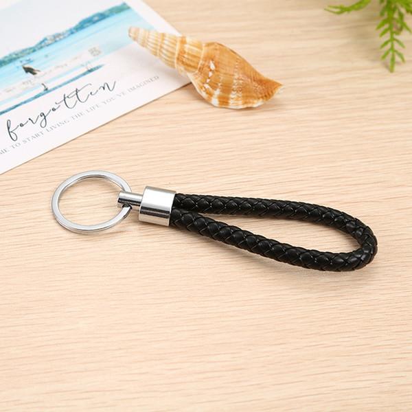 Popular cuerda de cuero tejida a mano llavero creativo regalo hombres y mujeres coche clave colgante envío gratis