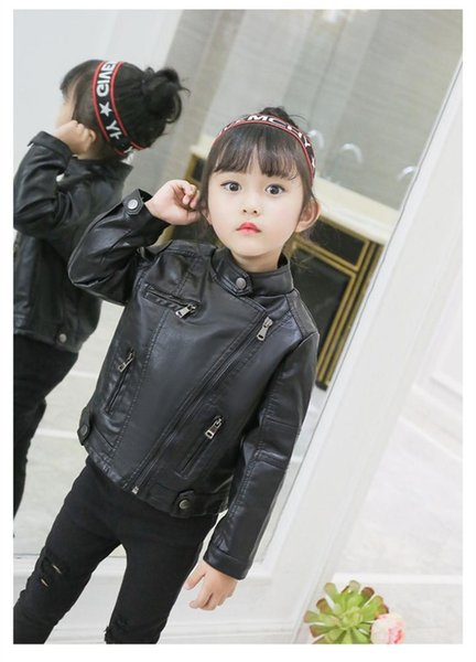 European and American style fashion winter children clothing PU leather short-section motorcycle jacket outerwear for girls