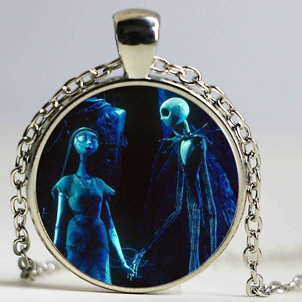 Wholesale Cabocon Nightmare Before Christmas Silver Necklace Jewelry Glass Dome Necklace