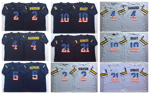 Michigan Wolverines Blue White 10 Tom Brady 2 Charles Woodson 4 Jim Harbaugh 5 Peppers 21 Howard College Football Jersey Men Flag Jerseys