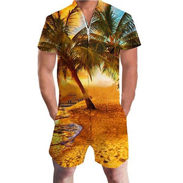 LEQEMAO Hawaii Romper Casual manga corta 3D estampado floral mono de los hombres bolsillos con cremallera Summer Beach Playsuit overoles de carga