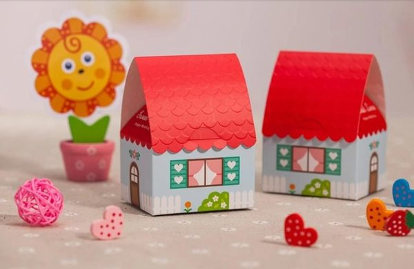 Sweet House Wedding Favors Boxes Paper Chocolate Boxes Samll Favours Gifts Bags Box Candy Boxes Wedding Supplies