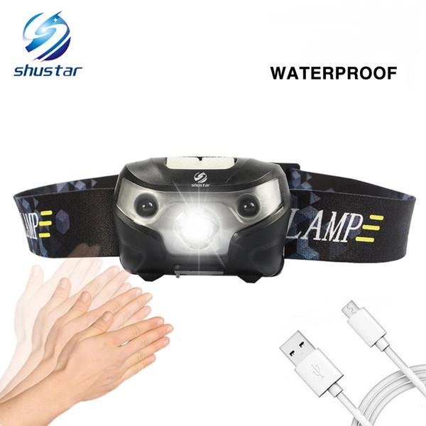 Shustar аккумуляторная светодиодные фары рыбалка фара 3000Lumen супер яркий тела датчик движения фара 4 режима освещения поставляется с USB