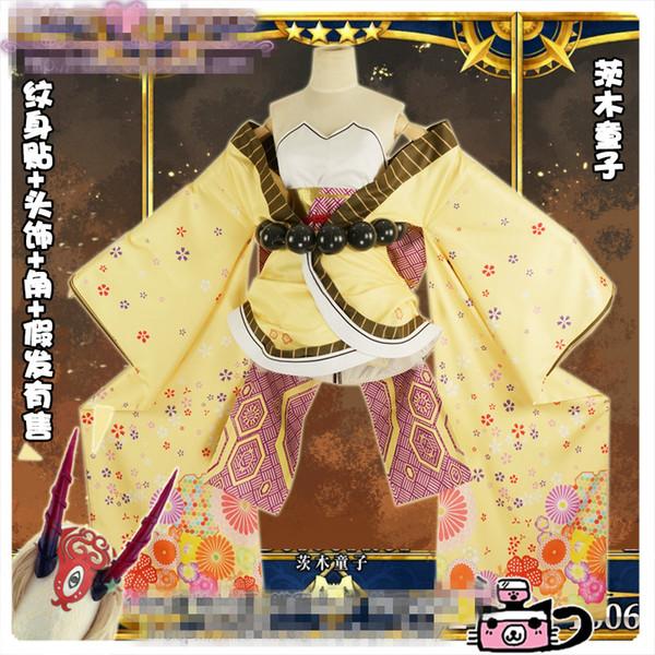Envío gratis Anime Fate / Grand Order Ibaraki Douji Cosplay uniforme de Halloween Kimono + Beads + Bow + Headband por encargo