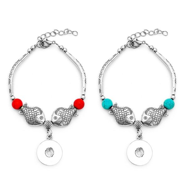 Noosa Chunks Snap Bracelet Jewelry Kiss Fish Charm Beaded Bangle 18mm Ginger Snap Button Bracelet Bangle for Women Gift