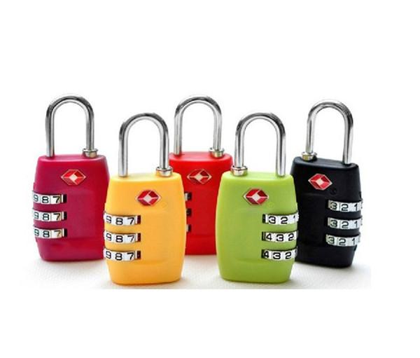 3-stellige Kombination Vorhängeschloss TSA Lock Gepäck Koffer Reisetasche Code Lock Schwarz rot gelb blau ABS Legierung Zahlenschloss 6,3 * 3,0 cm mk0519