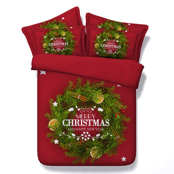 3D merry Christmas Duvet Cover Bedding Sets Bedspreads Holiday Quilt Covers Bed Linen Pillow Covers red floral full queen king cal king size