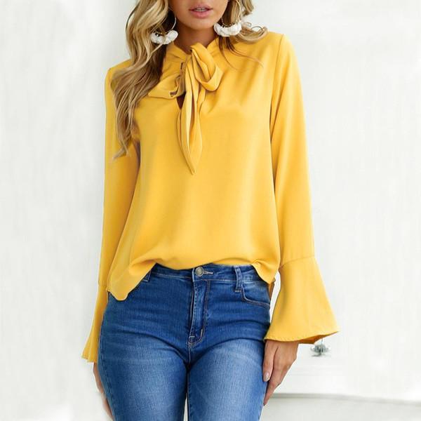 2017 Autumn Long Sleeve T-shirt Women Flare Sleeve Bow Casual Tshirt Female Tops Fashion Tee Shirts Ladies Elegant Tshirts