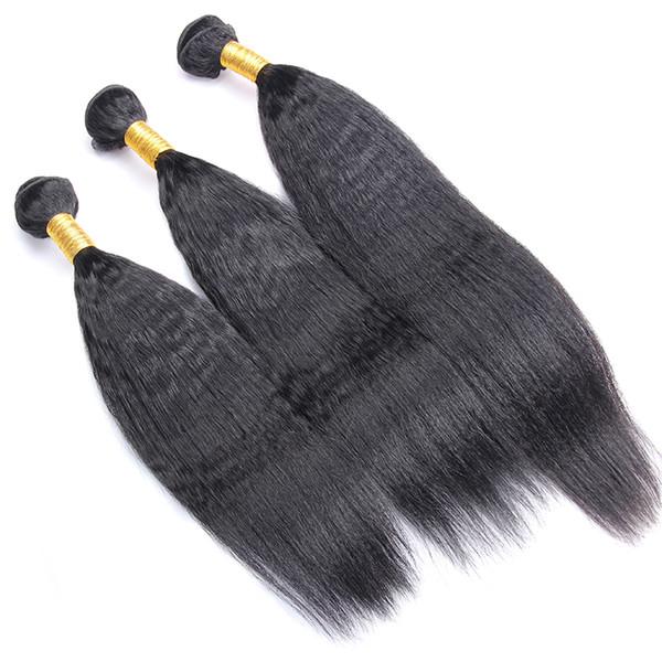 Кудрявый прямые волосы бразильские Виргинские волосы переплетения пучки грубый Яки 100% человеческих волос пучки 1/3/4 шт бесплатная доставка