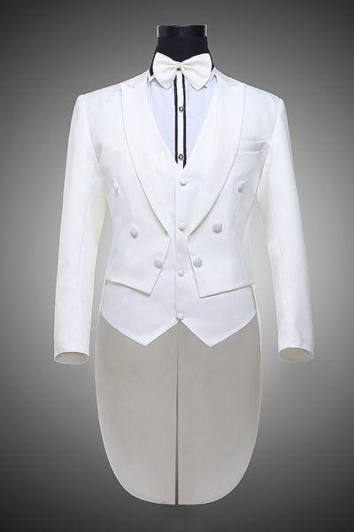 Haute qualité Groomsmen Pic Blanc Lapel smokings marié Frac style hommes Costumes de mariage / Prom Best Man Blazer (veste + veste + pantalon + cravate) O330