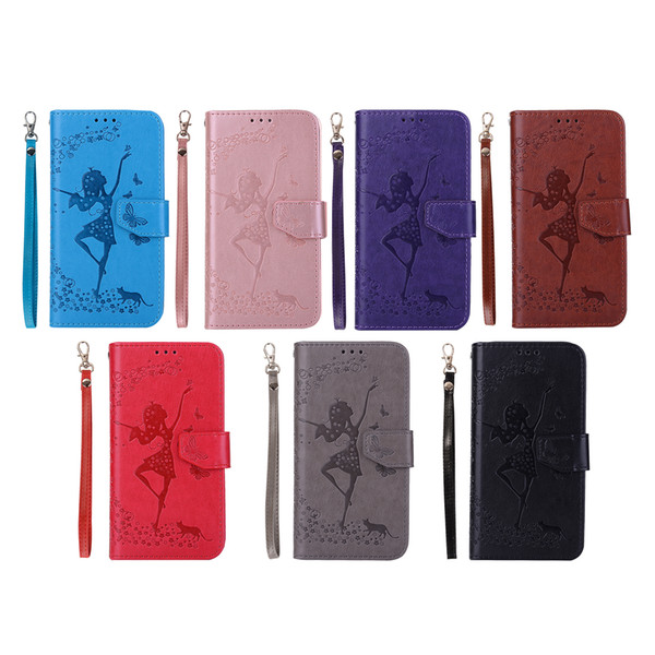 Dancing Girl Embossed Wallet Phone Case for iPhone X XR XS MAX 7 8 Plus and Samsung S9 S10 Plus Note9 etc