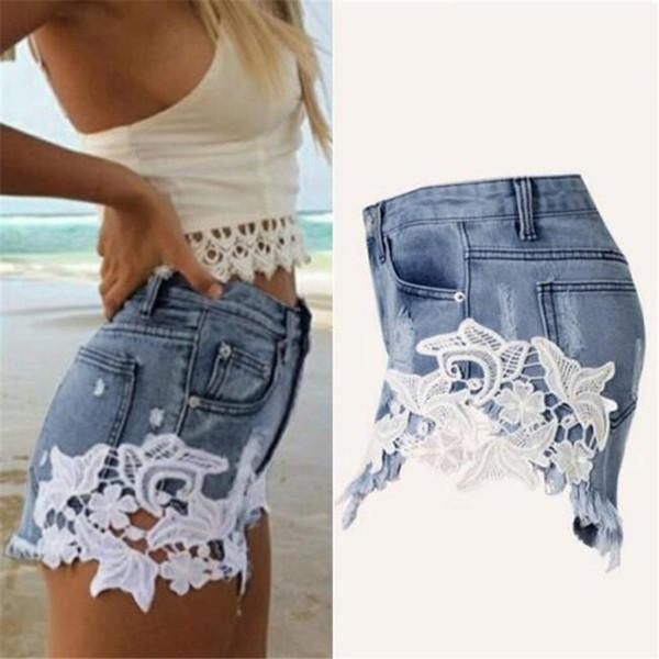 Jeans Donna Pantaloncini Discoteca donna in pizzo partito Denim Hot Pant Taglia 6 8 10 12 14