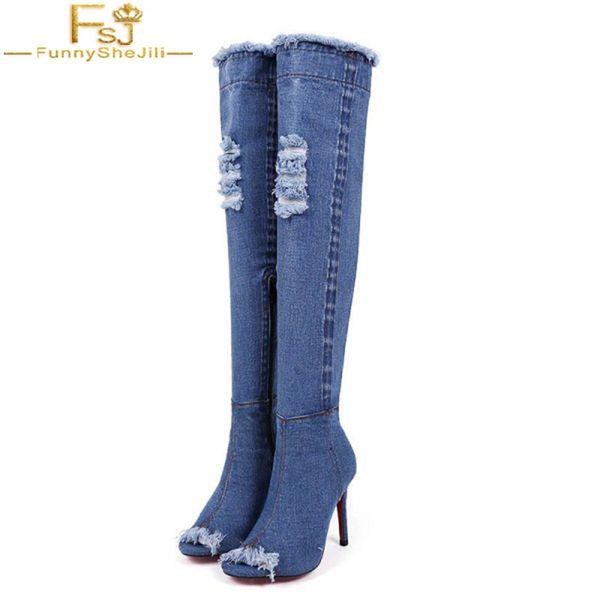 FSJ Summer Antumn Fashion Handmade Denim Over Knee Botines para mujer Peep Toe High Thin Tacones Botas Supper Brand Zapatos Mujer