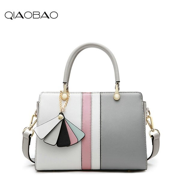QIAOBAO Messenger shoulder bag Korean version Genuine Leather minimalist platinum bag hit the color leather handbag ladies