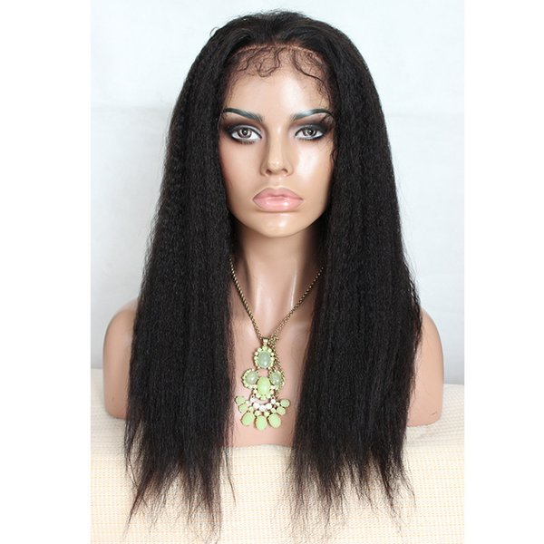 Kinky Straight Wigs Lace Front simulation Human Hair Wig Pre Plucked With Baby Hair heat resistant synthetic lace wig Wig for afro women