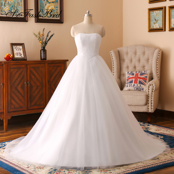 Elegant Strapless Lace Top A Line Tulle Long Wedding Party Bride Dresses for Women Wedding Dress Gown