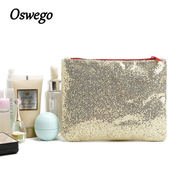 Oswego Brand Bling Sequins Cosmetic Bag Zipper Bag Portable Fashion Small Makeup Cosmetic Cases Organizer Travel Toilet Kit