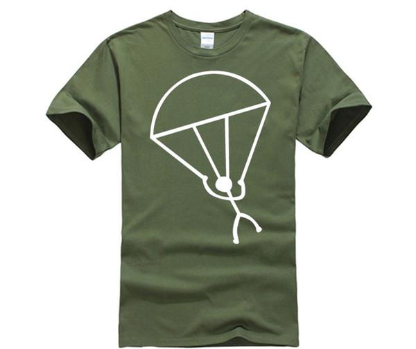 Compre Camiseta De Cuello Redondo De Algodón Puro Stick Man Skydiving Camiseta De Mujer Camiseta De Cuello Redondo Manga Corta De Algodón Boy A $14.21