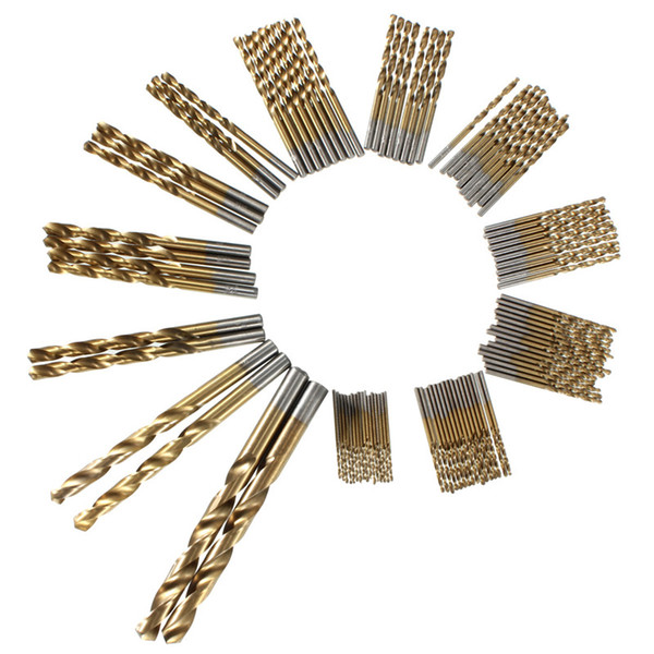Freeshipping 99Pcs/lot HSS Twist Drill Bit Set 1.5-10mm With Titanium Coated Surface 1.5-10mm Metal Drilling For Wood Power Tools