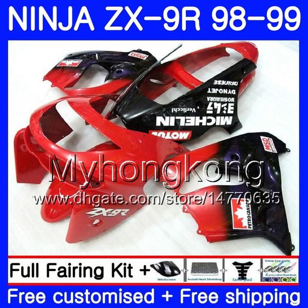 Cuerpo para KAWASAKI NINJA ZX900 ZX9 R ZX 900 ZX-9R 98 99 00 220HM.10 900CC ZX 9 R ZX9R 98 99 ZX 9R 1998 1999 2000 Carenado Rojo negro brillante