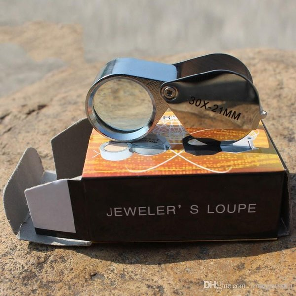 High Quality Magnifying Loupes 30X21MM Folding Outdoors Jewelry Mirror Optical Glass Lens Enlarge Glasses Stainless Steel Frame 7 8at Y