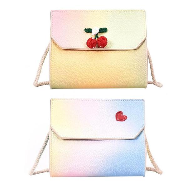 Lovely Cherry Heart bolsos de hombro Women Girls Leather Flap Messenger embrague