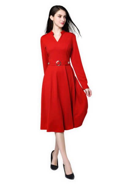Ol office Dress V-neck Plus size 4XL long fat mm Slim temperament fashion Female Red Office Party Fitted Swing Dress