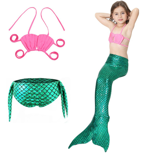 3pcs/set Mermaid tail Costume Cosplay Princess Ariel Children The Little Mermaid Tail for Swimming Kids For Girl Fancy Swimsuit