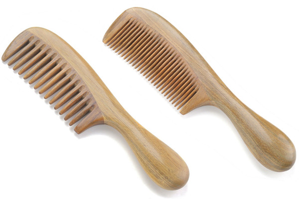 Natural Handmade Green Sandalwood Wide Tooth & Fine Tooth Hair Combs Set, Natural Sandal wood scent for Beautiful Hairs. None-Tangled Comb