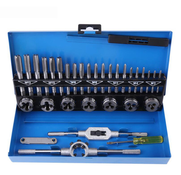 32pcs/Box Screw Tap and Die Set External Thread Gauge Tapping Repair Hand Tools Kit Alloy Steel Adjustable Wrench Set