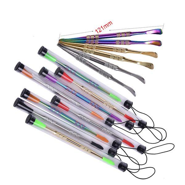 Kleinpackung Wachs Dabber Werkzeuge mit Silikon Spitze Gold / Silber / Regenbogen Farbe 121mm Tupfen Werkzeug trocken Kraut Vaporizer Stift für Silikonmatte Container