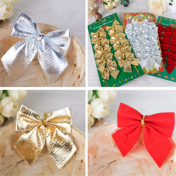 12PCS/Bag Christmas Xmas Tree Decoration Party Decor Home Suppliers Gift Bags Bows DIY Gold Red Silver