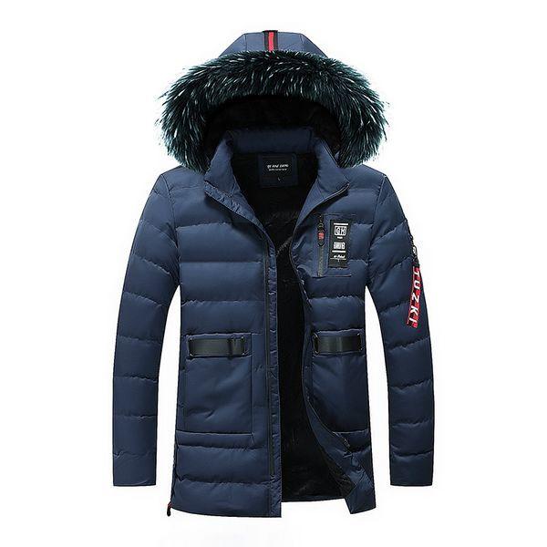 2018 Fashion Winter Jacket Men Faux Fur Collar Long Coat Hooded Outwear Thick Warm Parka Men Windproof Punk Style Hip Hop Jacket