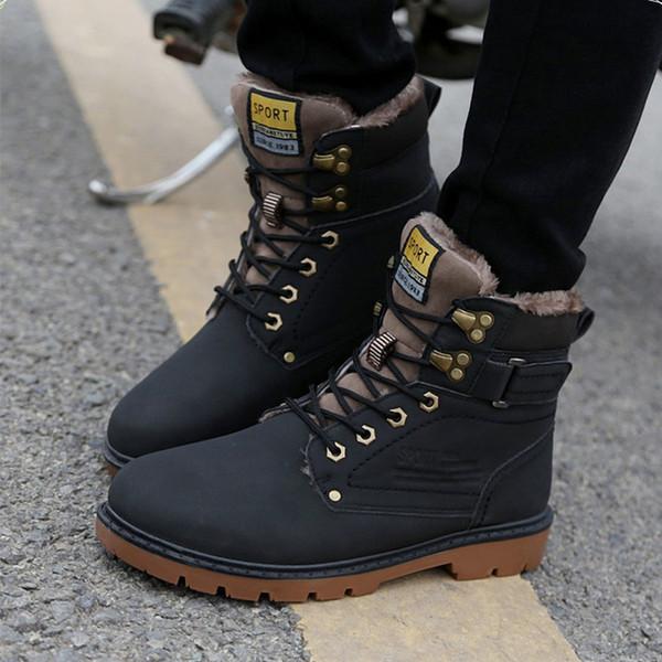 Marca Súper zapatos para hombres de cuero de invierno Hombres de cuero a prueba de agua Botas para hombre Botas de ocio Inglaterra Zapatos retro para hombres Zapatos de trabajo