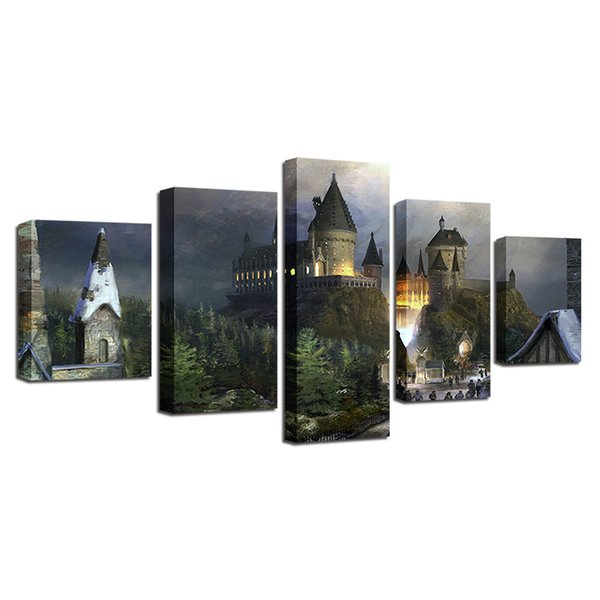 Harry Potter Castillo Para,5 Pieces Home Decor HD Printed Modern Art Painting on Canvas (Unframed/Framed)
