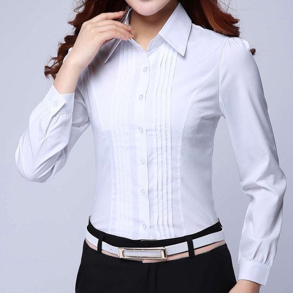 Formales Hemd Frauen Kleidung 2018 New Slim Allgleiches Langarm Weiß Bluse Elegante OL Büro Damen Arbeitskleidung Plus Size Tops