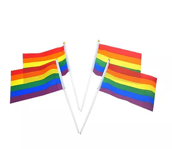 best selling Rainbow Gay Pride Stick Flag 5x8 inch Hand Mini Flag waving flags handhold using with With gold Top