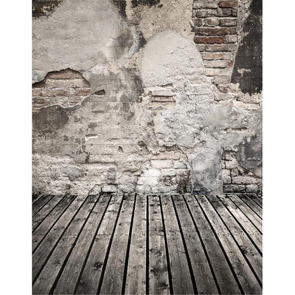 Mur de briques cassées Photographie Fond de scène Planches de bois gris Plancher de plancher Enfants Enfants Photo Studio fond Fond d'écran de bébé nouveau-né vinyle Portrait