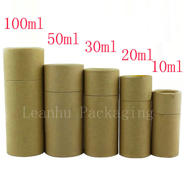 Glass Dropper Bottle Packaging Box Kraft Paper Packaging Tube Round Small Cardboard Boxes Recyclable Brown Gift Tube Box