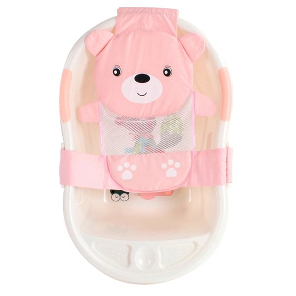 Baby Infant Bear T-Shaped Slippery Bath Bed Net Antis Kid Bathtub Bath Shower Cradle Bed Seat Net PP And Cotton Baby Tub