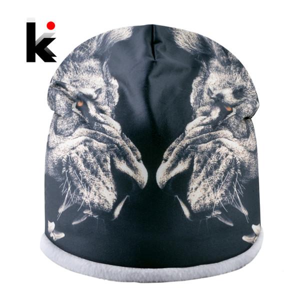 Fashion Unisex Beanies Winter Warm Double Layer Hats For Women Print Animal Streetwear Hip Hop Skullies Cap Men Thick Ski Gorro