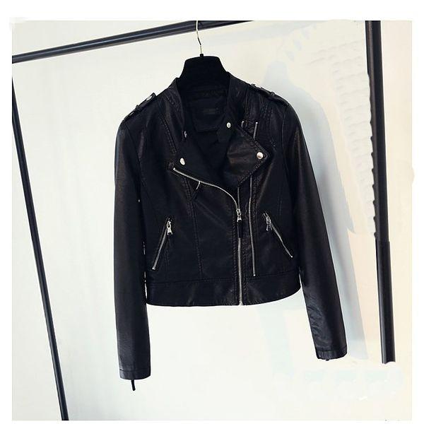 2018 Autumn Women Faux Leather Coat Zipper Motorcycle Pu Leather Jackets Moto Biker Black Short Slim Jacket Outwear