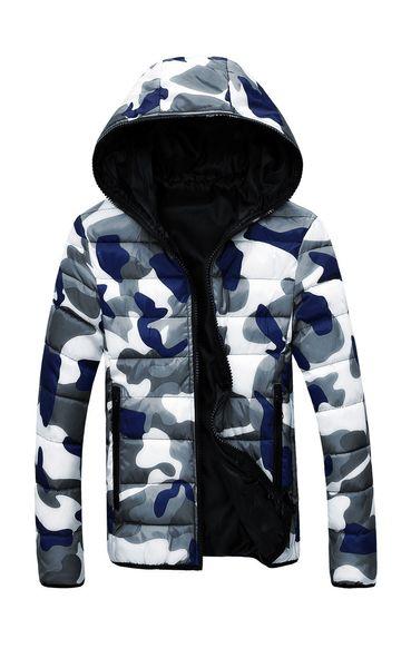 Men Hooded Collar Down Jackets Camouflage Reversible Coat Online Cheap Warm Jacket Zipper Hoodies Free Shipping