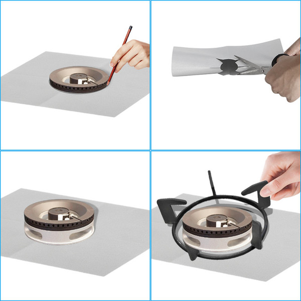 4 pcs Reusable Aluminum Foil Gas Stove Burner Cover Protector Liner Clean Mat Pad for Kitchen Gas Stove Hot Sale